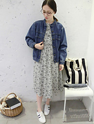 Women's Casual Autumn Denim Jacket with Pocket, Long Sleeve