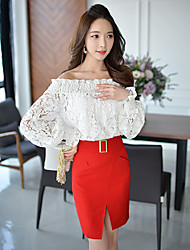 Pink Doll®Women's Bateau Casual Lace OL Lantern Sleeve Slim Shirt