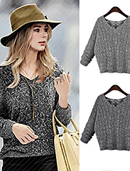 Women's V-Neck Sweaters , Cotton Blend Casual Long Sleeve Phylomeya