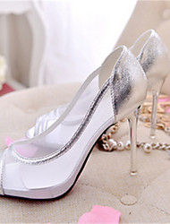Women's Shoes Tulle Stiletto Heel Peep Toe Sandals Casual Black/Silver/Gold