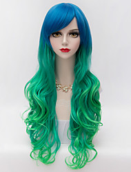 Harajuku Fashion Party Long Wavy Side Bang Hair Blue Gradient Green Synthetic Lolita  Charming Women Wig