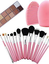 15Pcs Pro Cosmetic Make Up Brush Set Lipbrush Superior Soft+Concealer Camouflage Neutral Cream+ Washing Brush Clean Tool