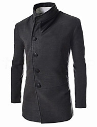 Slim Men's V-Neck Coats & Jackets , Cotton Blend Long Sleeve Casual Pocket Fall