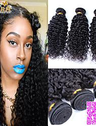 "3Pcs/Lot 8""-26"" Unprocessed Peruvian Virgin Hair Natural Black Color Kinky Curly Human Hair Weave."