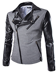 Men's Long Sleeve Jacket , Cotton/Polyester/PU Casual/Work/Formal