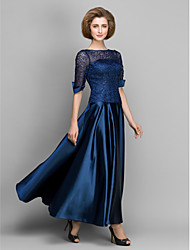 LAN TING BRIDE A-line Mother of the Bride Dress - See Through Ankle-length Half Sleeve Satin with Lace Pleats
