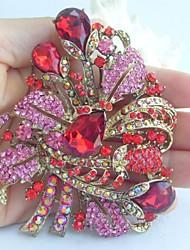 Gorgeous 3.54 Inch Gold-tone Pink Red Rhinestone Crystal Flower Brooch Art Deco