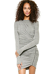 Women's Sexy Zipper Sexy Grey Dress