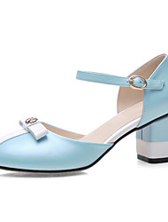 Women's Shoes Patent Chunky Heel/Comfort/Round Toe Loafers Outdoor/Dress/Casual Blue/White