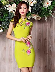 Cocktail Party Dress - Multi-color Sheath/Column High Neck Short/Mini Satin