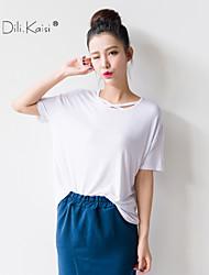 Mulheres Camiseta Lapela Chanfrada Manga Curta Algodão/Poliéster Mulheres