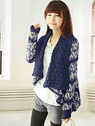 Women's Striped Blue/White Cardigan , Vintage/Casual Long Sleeve