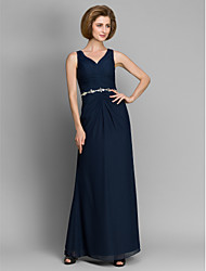 Lanting Sheath/Column Mother of the Bride Dress - Dark Navy Ankle-length Sleeveless Chiffon