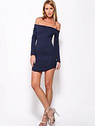 Women's Bateau Zipper/Backless Dress , Knitwear Mini Long Sleeve
