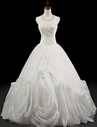 Ball Gown Wedding Dress - White Floor-length Jewel Organza