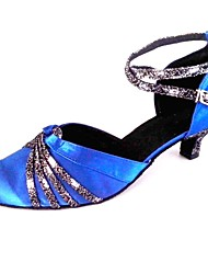 Customized Women's Ballroom Shoes Customized Heel Satin Upper Dance Shoes