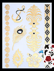 1PC Gold Tattoo Chic Temporary Tattoos Sticker Taty Metallic Tattoo Flash Tattoo  Tatoo + 3PCS Colorful Tattoos