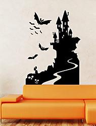 stickers muraux de style mur de décalcomanies murales Halloween bat château de PVC autocollants