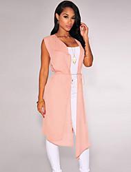 Women's Blouse , Polyester Sleeveless Nude Ruffled Collar Long Vest