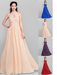 Floor-length Chiffon Bridesmaid Dress - Royal Blue / Ruby / Champagne / Grape Plus Sizes / Petite A-line Jewel
