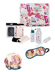 Travel Makeup Cosmetic Tools Set Outdoor Bags Bath Cap Women Makeup Powder Puff Kit
