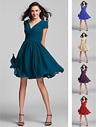 Homecoming Bridesmaid Dress Knee Length Georgette A Line Princess V Neck Dress (1996116)