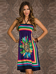 Brand New Best Selling Floral Dress 2015 New Trendy Popular Dress print Sleeveless Halter Fashion Summer Beach Dress
