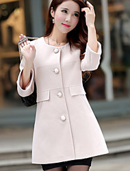 Women's Elegant Sweet Long Sleeve Solid Trench Coat , Casual/Work