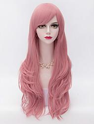 Mujer Pelucas sintéticas Sin Tapa Muy largo Rizado Rosa Parte lateral Corte a capas Con flequillo Peluca de Halloween Peluca de carnaval