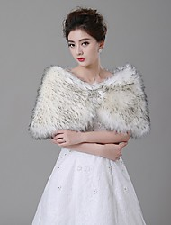 Wedding  Wraps Capelets Faux Fur Ivory