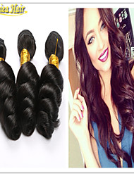 3PCS/Lot 8A Peruvian Virgin Hair Loose Wave Natural Black Cheap Human Hair Weave Bundles Hair Products Free Shipping
