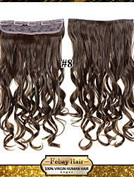 Clip In/On Curly Light Brown Synthetic Hair Extensions