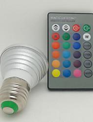 3W E26/E27 Spot LED 1 LED Haute Puissance 130 lm RGB Commandée à Distance AC 85-265 V 1 pièce