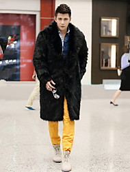Men's Handsome Fur Coat Winter Jacket Warm Trench Coat