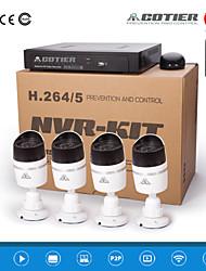 cotier® poe 4ch nvr kit 720p onvif p2p ip telecamera n4b / kit-poe