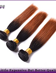 "3Pcs/Lot 10""-26"" Ombre Human Hair Extensions T1B/30 Two Tone Color Brazilian Virgin Hair Straight  6a Remy Hair Bundles"
