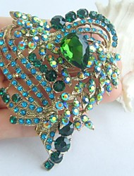 Gorgeous 3.15 Inch Gold-tone Blue Green Rhinestone Crystal Love Heart Brooch Art Deco