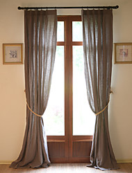 Two Panels 100% Linen Solid Linen Panel Curtains Drapes