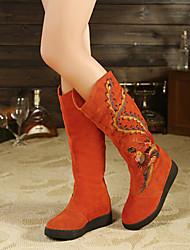 Calçados Femininos - Botas - Botas da Moda - Rasteiro - Preto / Laranja - Couro - Casual