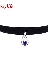 "Cozylife 3/8"" Womens Girls Black Velvet Gothic Collar Vintage Choker Necklace Sterling Sliver CZ Diamond Wing Pendant"