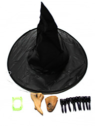 Halloween Prop Witch Hat False teeth Nail Nose Chin Suit