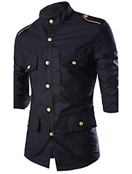 Men's Fashion Europe Golden Decorative Badges Slim Three Quarter Sleeve Shirt