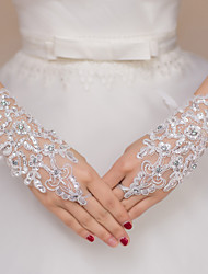 Lace Fingerless Wrist Length Wedding/Party Glove With Rhinestones