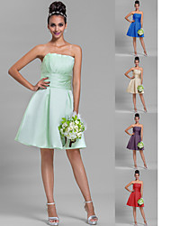 Knee-length Satin Bridesmaid Dress - Sage / Royal Blue / Ruby / Champagne / Grape Plus Sizes / Petite A-line Strapless
