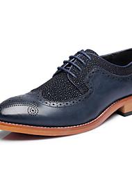 Oxfords ( Cuero , Negro/Azul Tacón plano para Zapatos de hombre