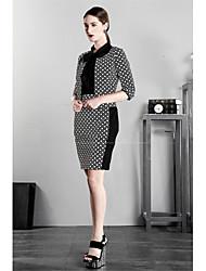 2015 Creative New Arrival European Spring Autumn Sexy Stitching Dot Pencil Skirt Slim Polka Dot Dress VNZ716