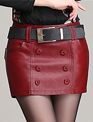 Women PU Pants , Belt Included/Lined