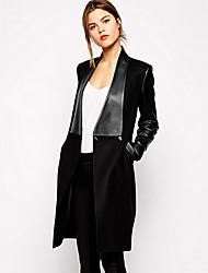 Shimu Woman'S Stitching Leather Long Sections Slim Woolen Coat Woolen Coat