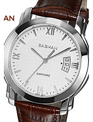 EASMAn Brand Watches Men Designers Brown Genuine Leather Quartz Watch Man Business Japan Movement Wrist Watches