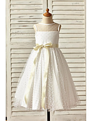 A-line Ankle-length Flower Girl Dress - Tulle Sleeveless Jewel with